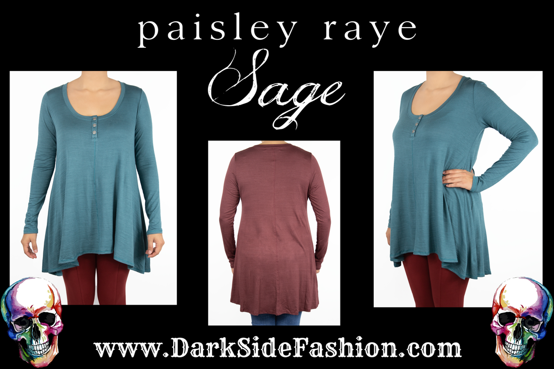 Paisley Raye Sage. Get yours at Ciao Bella Boutique www.darksidefashion.com Virginia Beach, VA