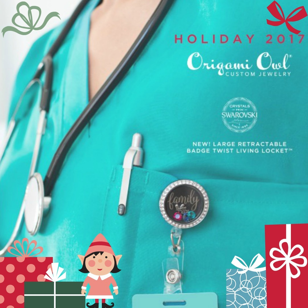 Holiday 2017 collection reveal day 3 origami owl top gifts introducing our large retractable badge twist living locket the perfect gift for teachers nurses doctors and anyone who wears an id badge on the job jeuxipadfo Images