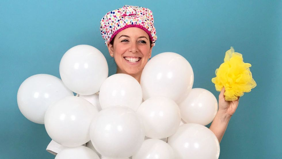 woman in bubble bath costume