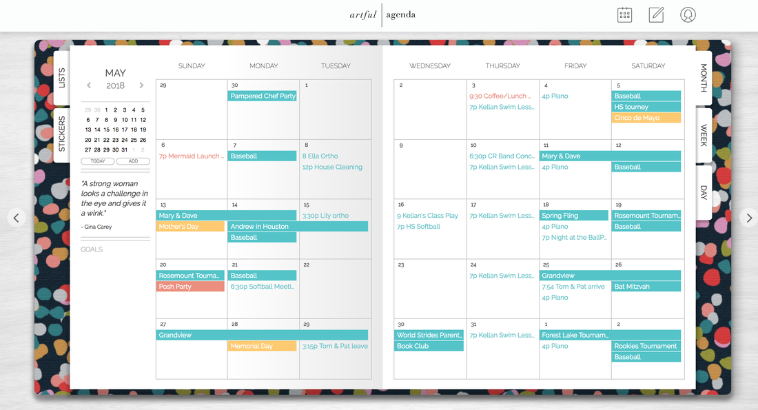 Digital Planner Monthly View Artful Agenda
