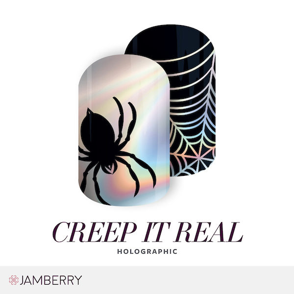 creep it real and creep it real jr are the other matching set for adults and juniors they are holographic with a spider inspired design holographic nails