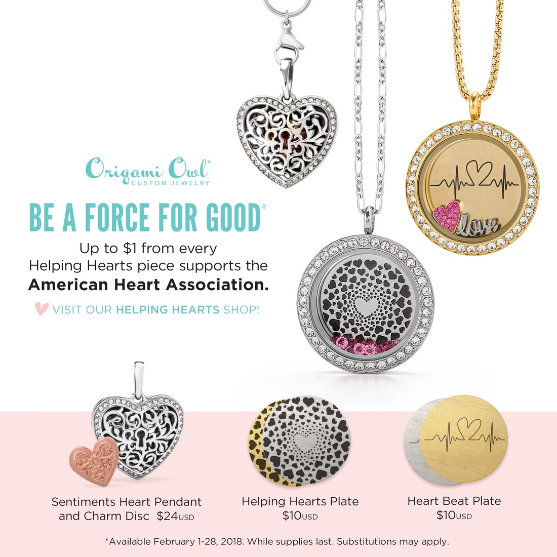 Origami owl takes part in american heart month with their february origami owls february force for good jeuxipadfo Images