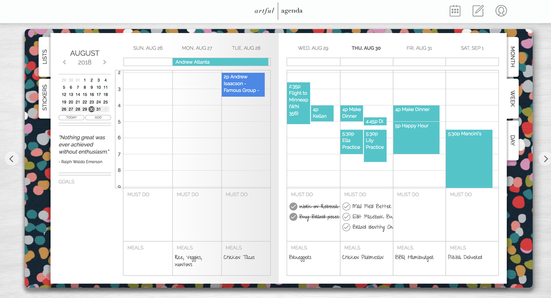 Digital Planner Weekly View Artful Agenda
