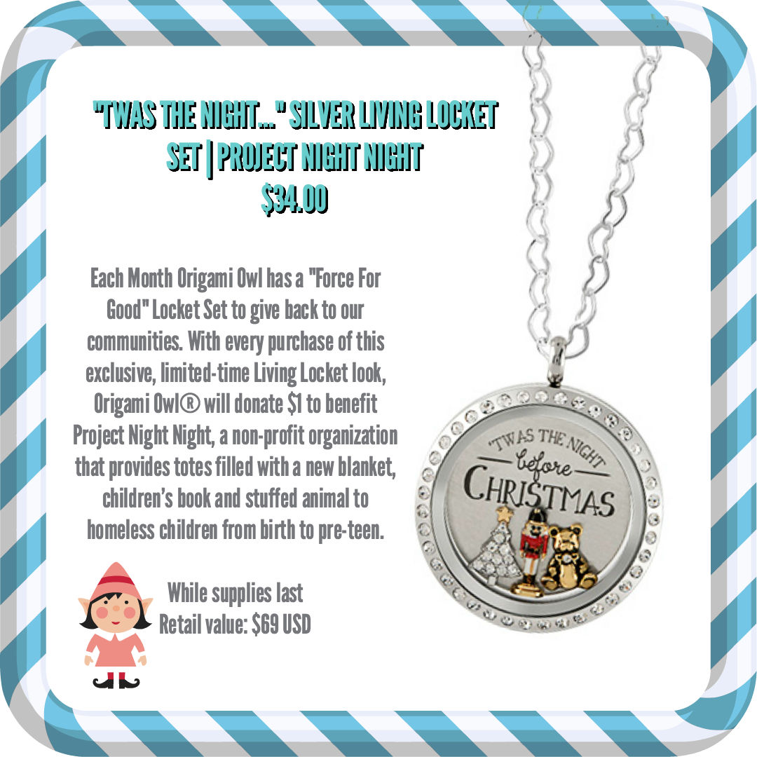 Help homeless children have sweeter dreams with origami owls origami owl will donate 1 from every twas the night before christmas locket look purchased jeuxipadfo Images