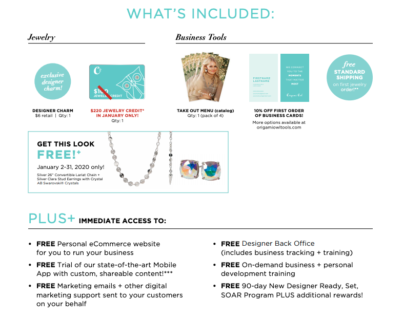 What's included, Join Origami Owl, Join Incentive January 2020,