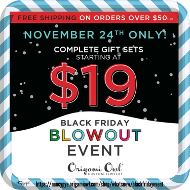 black friday event by origami owl direct sales member